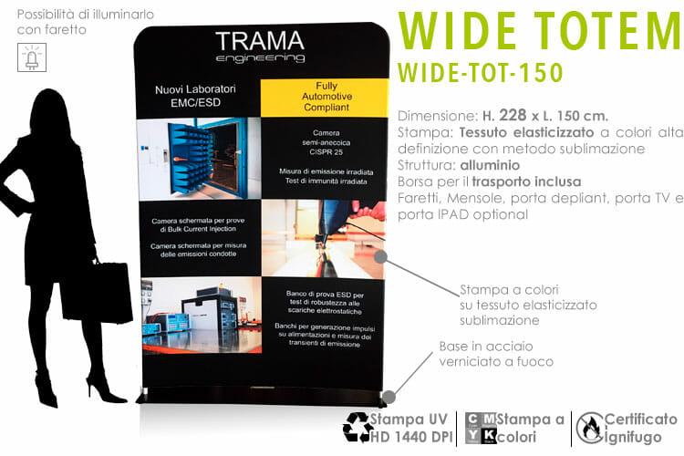 Wide Totem 228x150 cm. con stampa in tessuto elasticizzato a colori