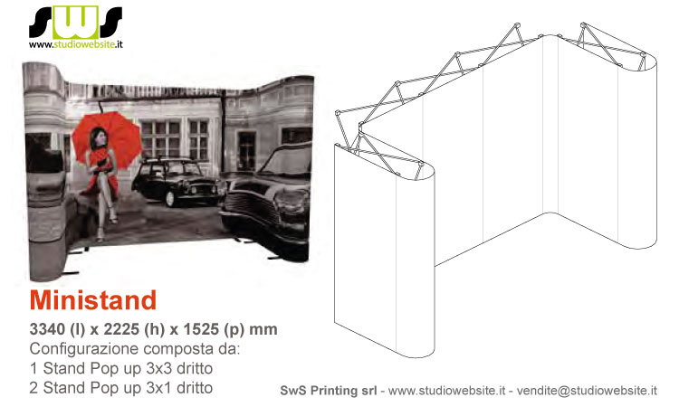 Ministand con pop up 3x3 dritto
