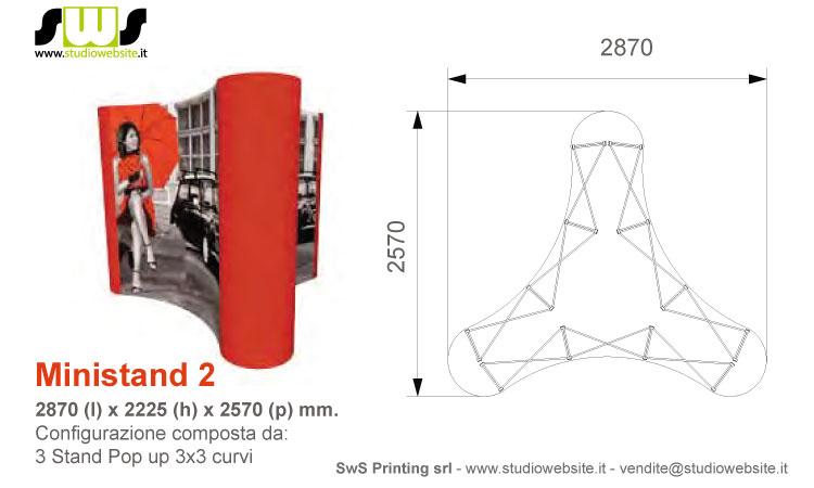 Ministand con pop up 3x3 curvo