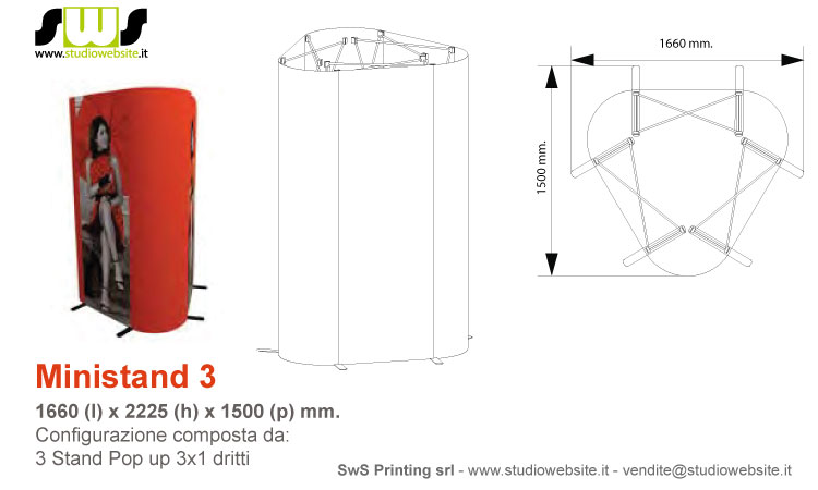 Ministand con pop up 3x1 dritto
