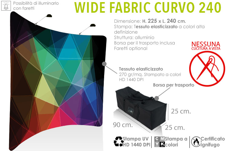 Fondale grafico Wide fabric curvo L. 240 cm.