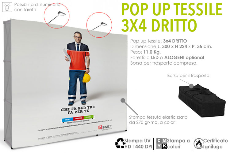Pop up tessile 3x4 dritto