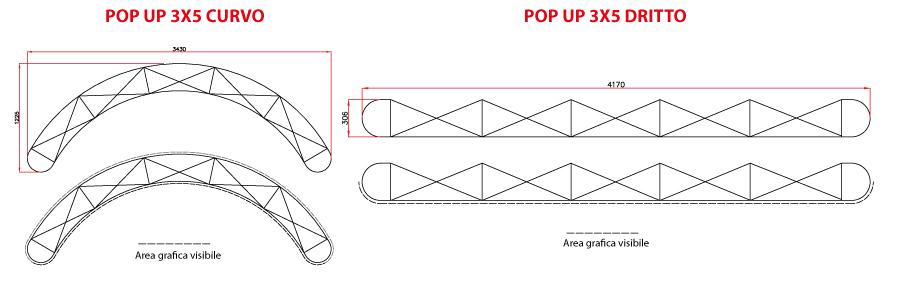 Disegno tecnico pop up stand 3x5 curvo e dritto