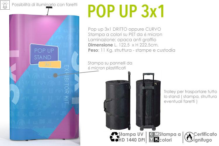 Pop up stand 3x1 curvo