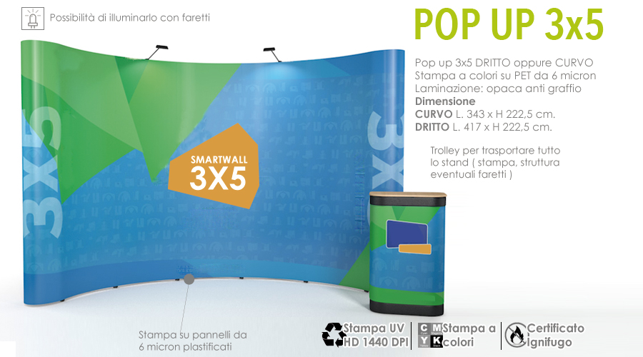 Pop up stand 3x5 | Stand con stampa in PET a colori