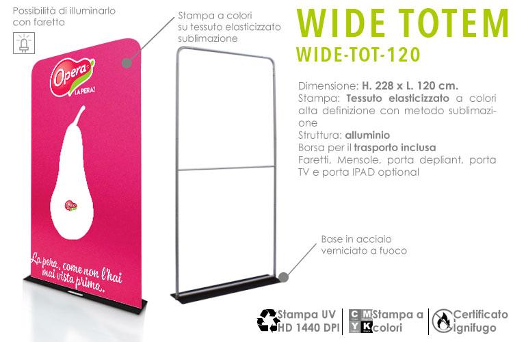 Wide Totem H. 228 x L. 120 cm. con stampa in tessuto elasticizzato