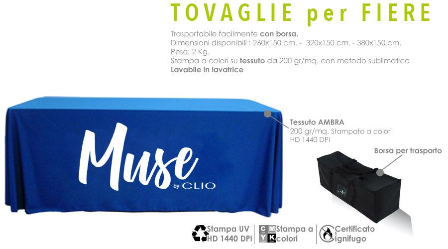 Tovaglie personalizzate per fiere - tessuto AMBRA da 200 gr/mq