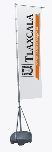 Pennone H. 4 metri - stampa 300x100 cm.