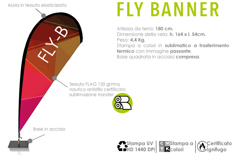 Fly Banner - H. 180 cm. da terra