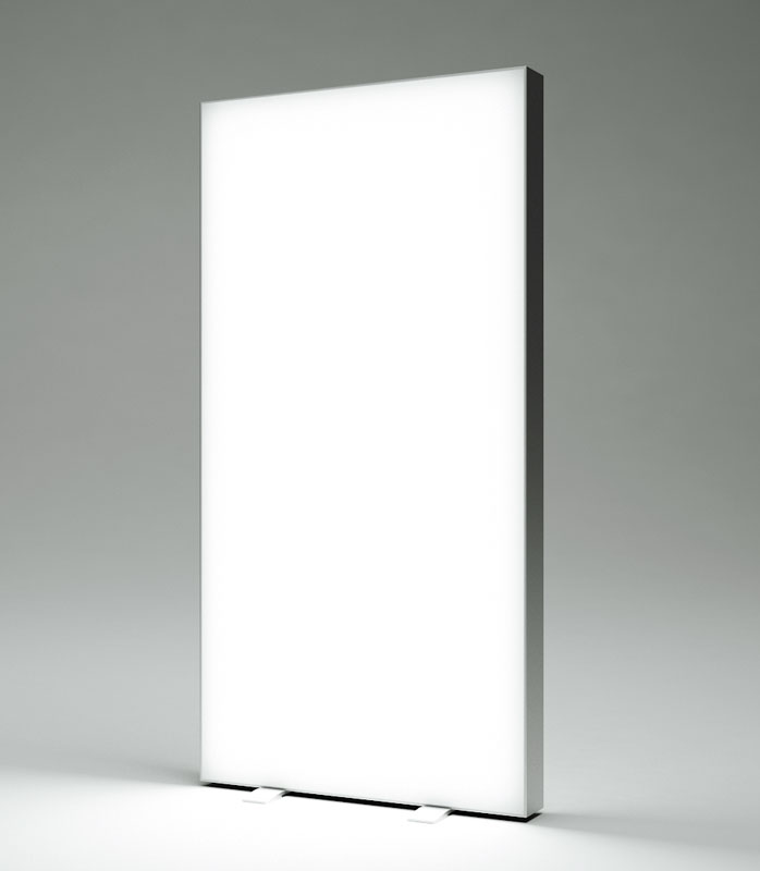 Totem LED con stampa in tessuto. Bifacciali per uso interno