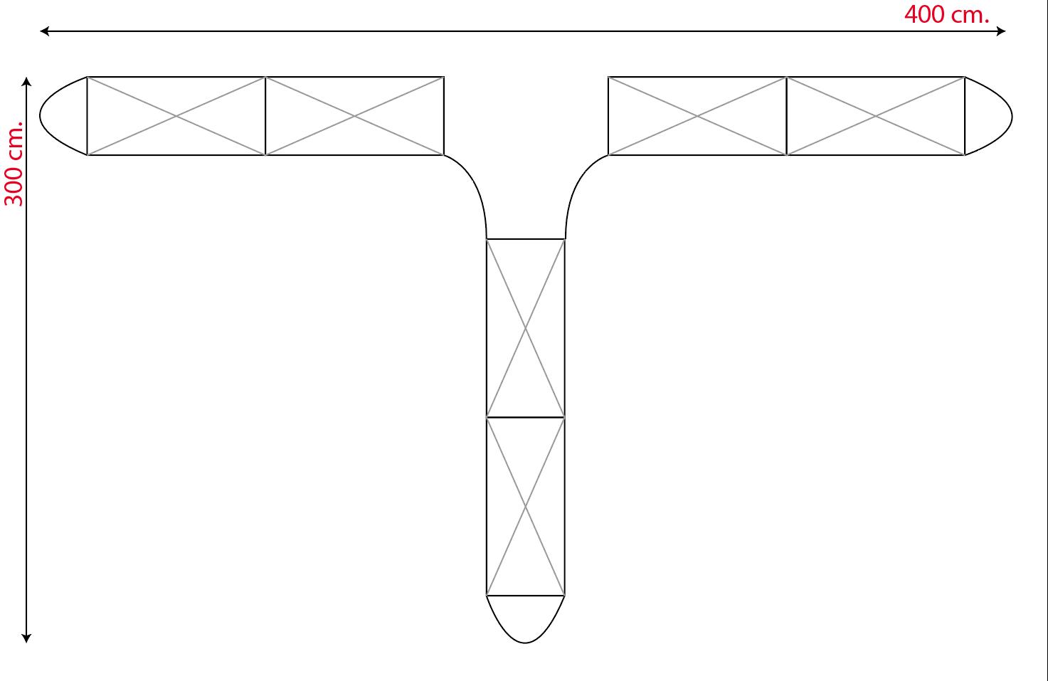 Isola promozionale 3x4 a forma di T