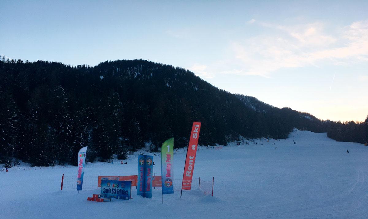 bandiere pubblicitarie dobbiaco piste da sci