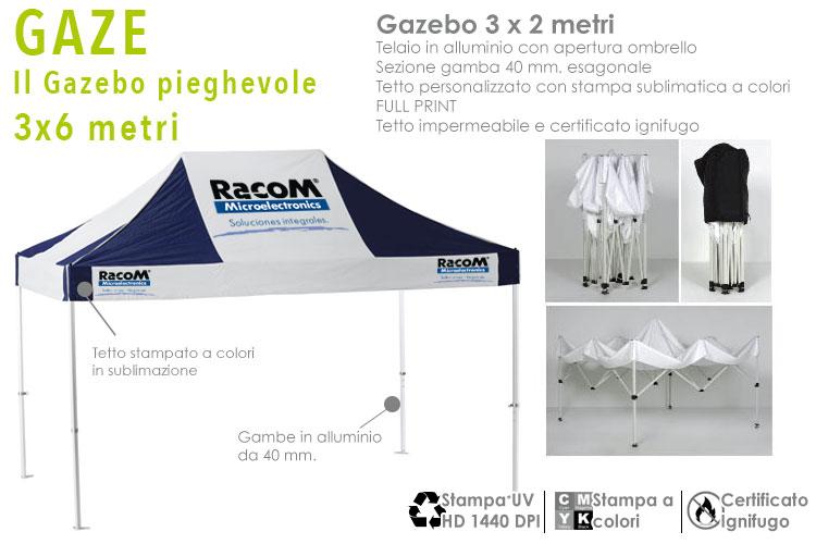 Gazebo pieghevole pubblicitario 3x2 metri