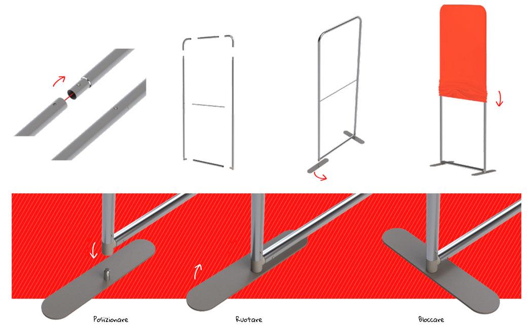 STAND LINK - Modalità di montaggio piedi autoportanti