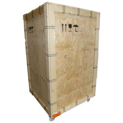 Cassa di legno con lucchetto e ruote per trasporto MIOSTAND